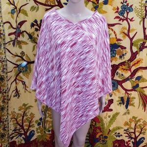 Pink and white knit poncho Missy size.